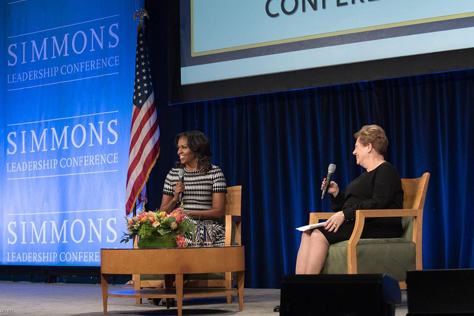 President Helen Drinan with Michelle Obama at the 2018 Simmons Leadership Conference.
