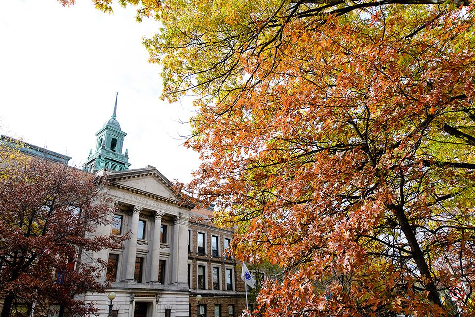 The front of the Main College Building in the Fall