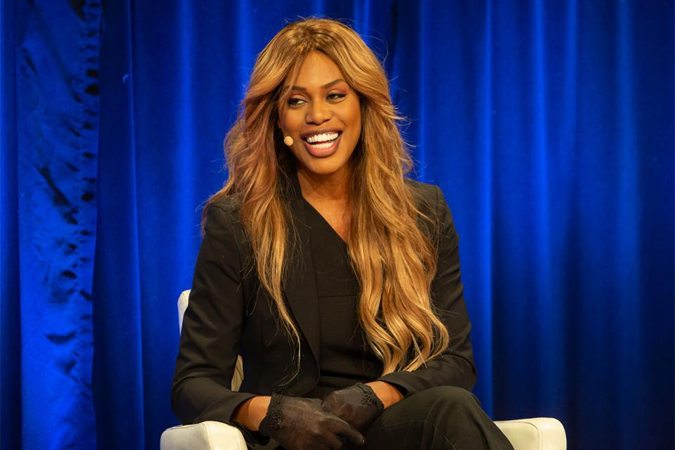 Laverne Cox on stage at the Simmons Leadership Conference