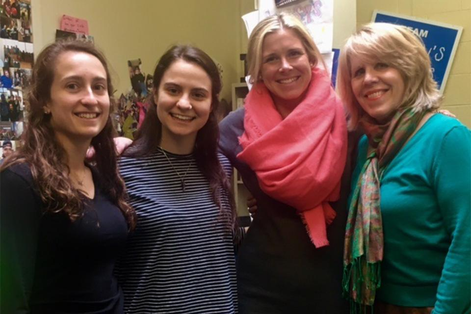 Aimee Correia and Abi Theirrien, Lyndsey Nunes, and Professor Jane Hardin.