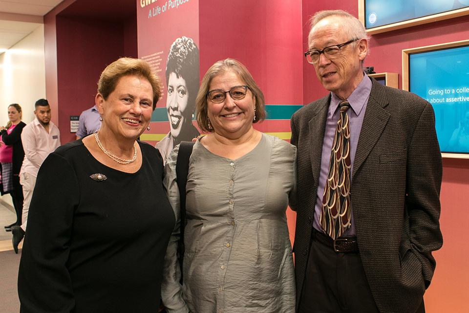 President Helen Drinan, Cathryn Mercier and Professor Lowry Pei