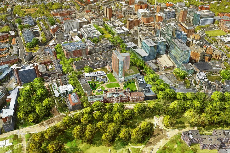 A rendering of the Simmons University campus