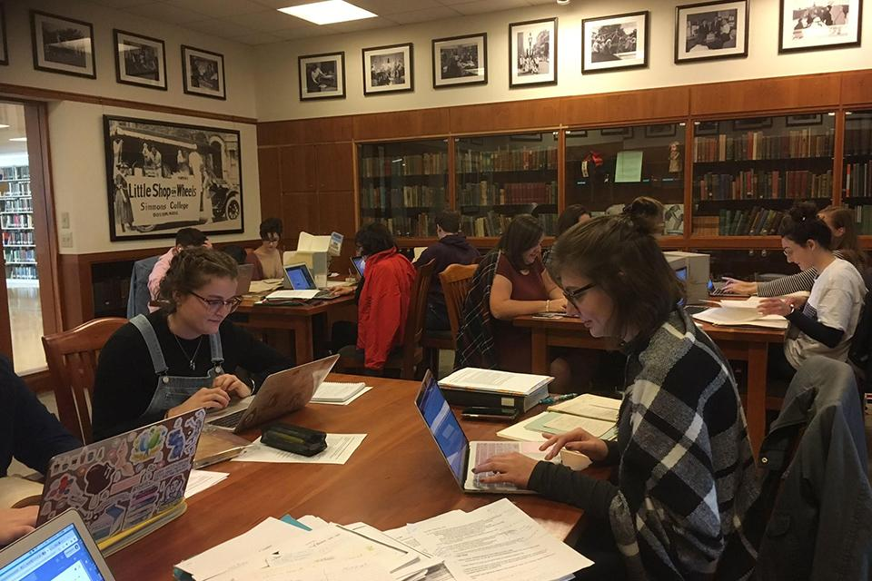 Students working in the archives.